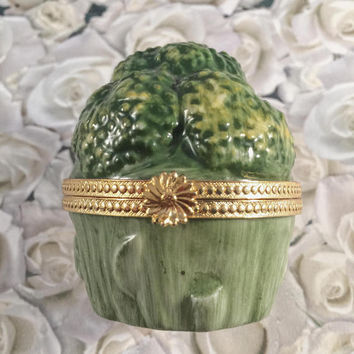 Vintage Trinket Box, Vegetable Trinket Holder, Signed Takahashi, San Francisco, Home Decor, Kitchen Decor, Accent Piece, Liomge Style