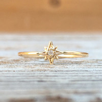 14k Diamond Star Ring, North Star Ring, Daint Ring, Solid Gold Ring, Tiny Diamond Ring, Minimal Jewelry, Stacking Ring, Astrology Jewelry