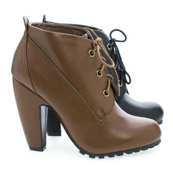 Mozza27L Round Toe Classic Lace Up Lug Sole Platform Ankle Bootie