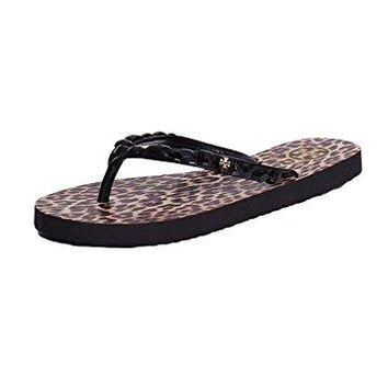 Tory Burch Jeweled Trim Animal Printed Thin Flip Flops Sandals In Black Leopard