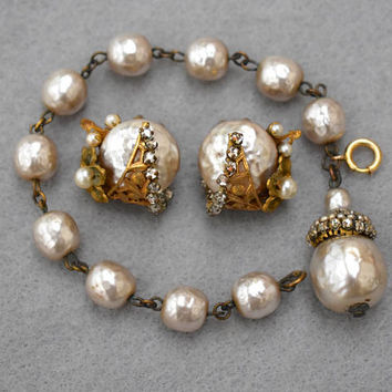 Miriam Haskell Baroque Pearl and Rhinestone Bracelet and Earrings Vintage