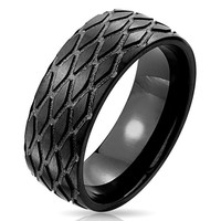 Black Tracks - A Tire Tread Pattern Black Stainless Steel Ring