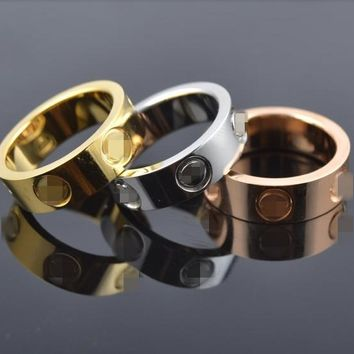Top Classic Design Famous Brand 6mm gold color lovers wedding band love ring for Women Men Valentine's Day present