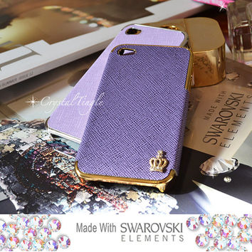 Sparkle Crown Design Luxury Designer Inspired White Pink Purple Leather Hard Case (Gold Frame) Made with Swarovski Crystals iPhone 5 5S 4 4S