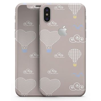 Heart Air Balloons with Blue Birds - iPhone X Skin-Kit