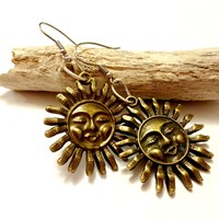 Cool Celestial Sun Charm Brass Dangle Earrings