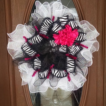 "Deco Mesh Wreath, Zebra Wreath, Year Round Wreath, Black, White & Hot Pink, Ruffle Wreath, Zebra Ribbon, 21"" Indoor/Outdoor Wreath"