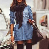 Denim high waist dress PL0119CA