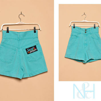 Vintage 1990s Teal High Waisted Denim Shorts with Back Patch