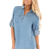 Vintage Blue Chambray Shirt with Split Neckline and Pocket