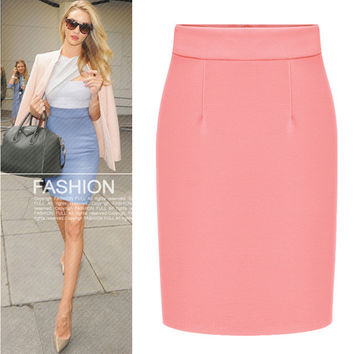 Autumn women skirt Vintage skirt Winter high waist casual skirts Knee-Length pencil skirt