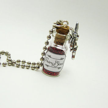 Fairy Blood - 1ml Glass Vial Bottle Pendant Necklace Charm - Faery Fairies Red Glitter