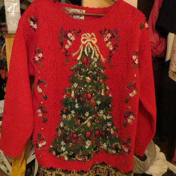 vtg  Ugly Christmas    heavy CABLE  knit CHRISTMAS TREE  red  sweater ize  small