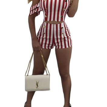Off Shoudler Striped Crop Top with Slim Shorts Two Pieces Set
