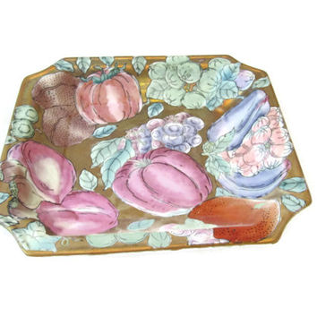 Vintage Chinese Enamel On Copper Hand Painted Pin Tray Reproduction / Trinket Dish / Vintage Vanity Tray