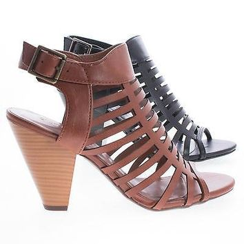 Russell Tan Pu By Classified, Gladiator Strappy Open Toe Sling Back Stacked Heel Sandals