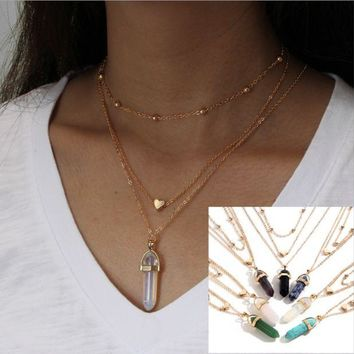 ONETOW Fashion jewelry hexagonal diamond-shaped stones natural stone heartpin copper beads chain multi-layer necklace