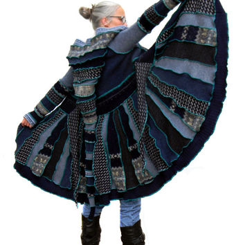 Elf Coat, Upcycled, Recycled, Sweater Coat, Blue