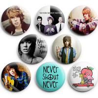 Never Shout Never Pinback Buttons Badge 1.25 inches (Set of 8) NEW
