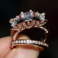 2016 New Hot Jewelry Three Stones Stunning 925 Sterling silver Rose gold plated CZ Diamond Wedding Women Bridal Ring set Sz5-11