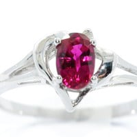 0.50 Carat Ruby Oval Heart Diamond Ring .925 Sterling Silver Rhodium Finish White Gold Quality