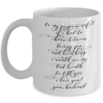 """Novelty Gifts for Vday - Valentines Day Gift - Wife Valentine Love Appreciation & Affirmation Cup - Valentines Day Gifts for Women -  White Ceramic 11"""" Vday Jar Cup For Coffee & Pens"""