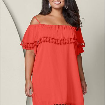 Off The Shoulder Dress in Coral | VENUS