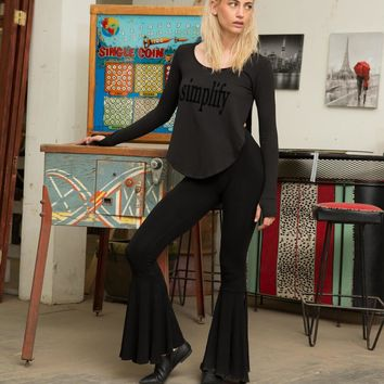 Black Bell Bottom Slit Pants