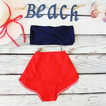 High waist swimsuit bikini Red and Navy Blue. Bandeau top or Halter neck Cute Sexy Nautical Retro Vintage inspired. Simple and Elegant