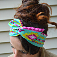 Tribal Dolly bow Headband, hair bow head band