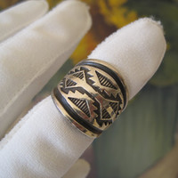 Vintage Ring Sterling Silver Overlay Native by sprucedroost