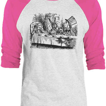 Big Texas Alice in Wonderland - Mad Hatters Tea Party (Black) 3/4-Sleeve Raglan Baseball T-Shirt