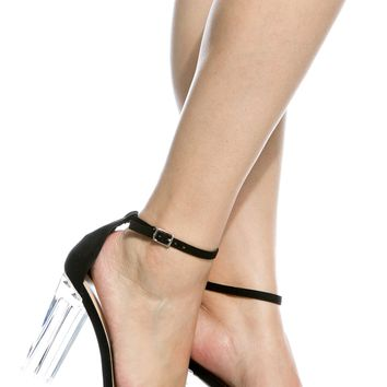 Black Faux Suede Chunky Translucent Ankle Strap Heels @ Cicihot Heel Shoes online store sales:Stiletto Heel Shoes,High Heel Pumps,Womens High Heel Shoes,Prom Shoes,Summer Shoes,Spring Shoes,Spool Heel,Womens Dress Shoes