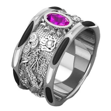 White Gold Men's Elephant Hair Solid Gold Dragon Ring Big Amethyst Mens Ring Wide Gold Band Ring Men's Ring Engraved Ring for Man