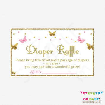 Butterfly Baby Shower Girl, Diaper Raffle Baby Shower Diaper Raffle Tickets AND Sign Diaper Raffle Cards Printable Download Pink Gold  BTFPG