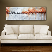 Large panoramic abstract painting original art 5 foot big red gray modern abstract painting 20x60 by L.Beiboer