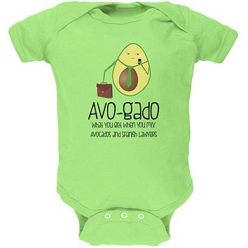 Avocado Abogado Lawyer Funny Spanish Pun Soft Baby One Piece