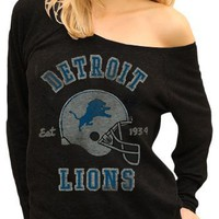 Originals NFL Detroit Lions Est. 1934 Helmet Black Wash Off The Shoulder Juniors Raglan Tee (Juniors Medium)