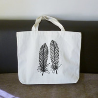 Feathers tote bag 18x14 inch/ large cotton bag/ shopping bag/ books tote bag/