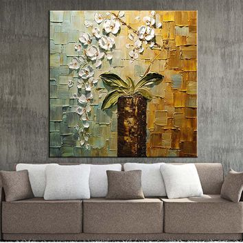 Hand-painted modern home decor room hall wall art picture white orchid flower thick colors palette knife oil painting on canvas