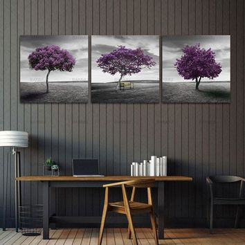 Canvas Painting Wall Art Pictures print on 3 Piece Purple Trees Modern Home Decoration Living Room Pictures on Canvas no frame