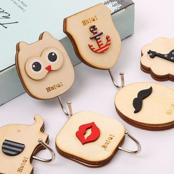 DCCKL72 1 pcs Cute animal Owl wooden hook cabinet door free nail Multi-functional Clothing Hanger Sundry Hanging Hooks Free Shipping