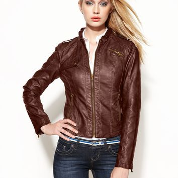 GUESS Jacket, Faux-Leather Moto - Jackets & Blazers - Women - Macy's
