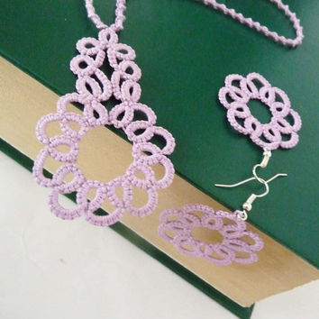 Handcrafted jewelry tatting set - necklace and earrings - party cocktail - for Her - wedding
