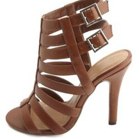 Strappy Single Sole High Heel Sandals by Charlotte Russe - Tan