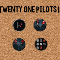 "Twenty One Pilots -  1"" Pinback Buttons/ 1"" Magnets"