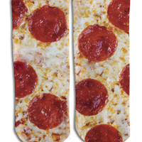 Pizza  Barely Show Socks - Pizza  Barely Show Socks