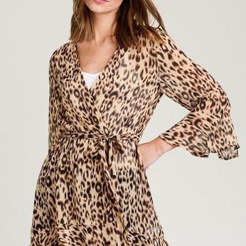 Leopard Sheer Ruffled Cardigan