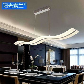 Modern LED Chandeliers 38W white wave acrylic for dinning room bar table studyroom study office AC90V-260V ceiling chandelier