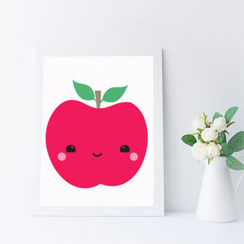 Kawaii Fruit, Apple Print, Kitchen Art, Nursery Printable, Instant Download, Kids Room Wall Art, Apple Decor